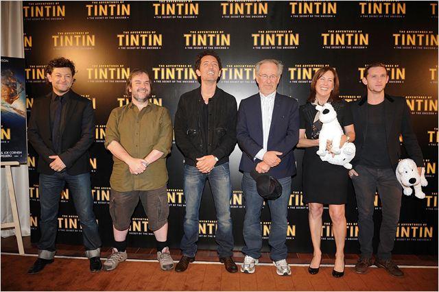 Les Aventures de Tintin : Le Secret de la Licorne : Photo promotionnelle Andy Serkis, Gad Elmaleh, Jamie Bell, Kathleen Kennedy, Peter Jackson