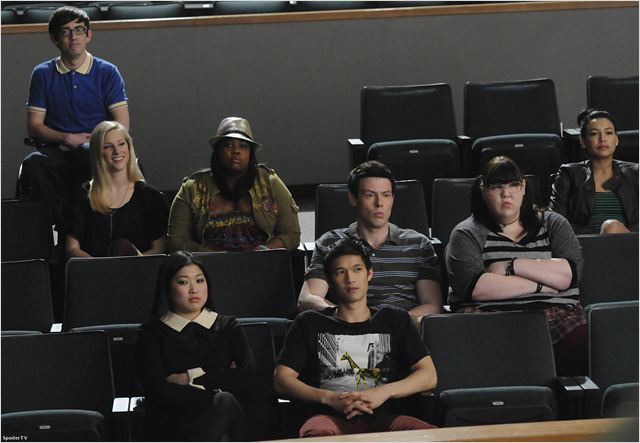 Photo Amber Riley, Ashley Fink, Cory Monteith, Harry Shum Jr., Heather Morris