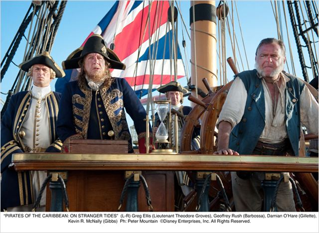 Pirates des Caraïbes : la Fontaine de Jouvence : Photo Geoffrey Rush, Greg Ellis, Kevin McNally, Rob Marshall